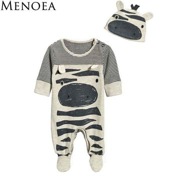 Menoea 2017 New style baby boys clothes Zebra gray long-sleeved jumpsuit+hat bodysuit 70 packets of foot children clothes