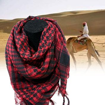 Military Windproof Winter Scarf Men Muslim Hijab Thin Shemagh Tactical Shawl Arabic Keffiyeh Scarves Cotton Fashion Red