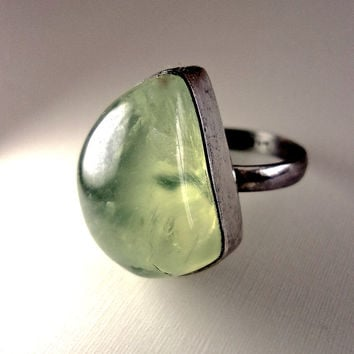 Natural Moss Agate Sterling Ring, Artisan, Vintage sz 9