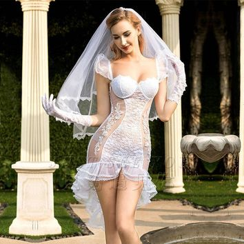 Sexy Women Lingerie Hot White Wedding Dress Cosplay