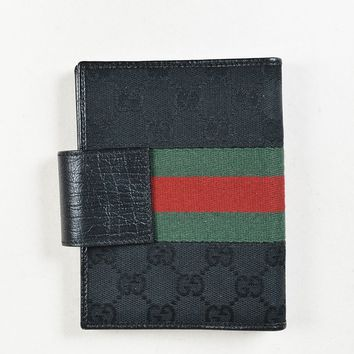"Gucci Black ""Original GG"" Canvas & Leather ""Agenda"" Cover"