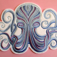 Jumbo Embroidered Sea Creature, Octopus Applique, Blue Water Tones, Quilts, Unique, Pillows, Totes, Beach Bags, Beach Cottage Decor, Sew On