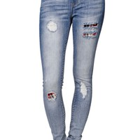 Gypsy Warrior High Rise Plaid Patch Ripped Skinniest Jeans - Womens Jeans - Plaid -