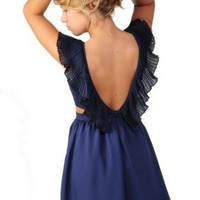 Ruffle Neck Sailor Dress with Side Cut Outs