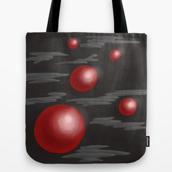 Shiny Red Planets Tote Bag by Boriana Giormova