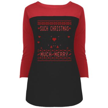 Doge Such Christmas Much Merry1 DT2700 District Juniors' Rally 3/4 Sleeve T-Shirt