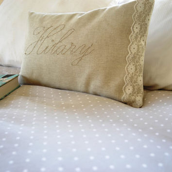Personalized Linen and Lace Pillow French by bluebellsandbunting