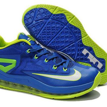 New Lebron 11 Low Sprite Royal Blue Metallic Silver Volt Electric Green Brand sneaker