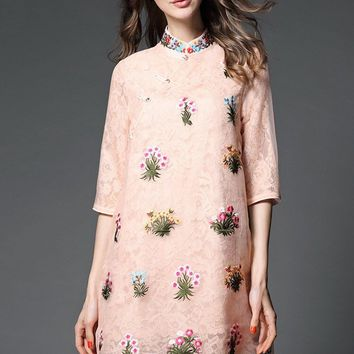 Embroidered Lace and Organza Dress