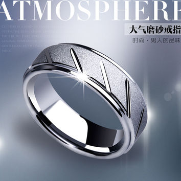 6 Fashion jewelry 8mm Wide Silver Plated Stainless Steel biker Middle Finger Frosted Ring for Men Women Friend Gift