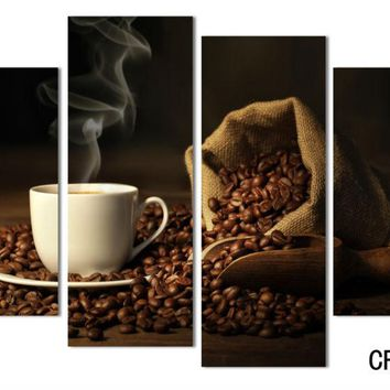 4 Panels Modern Printed Coffee Canvas Art Painting Picture Cuadros Kitchen Home Decor Wall Art For Living Room Unframed F 081