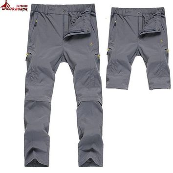 UNCO&BOROR women Mens summer spring Quick Dry Long Pants Men Breathable Removable Joggers Trousers Male Military casual Pants