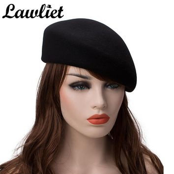 High Quality Beret Cap Solid Women Men Unisex 100% Wool Felt Tilt Winter Beret Hats Dome Bare Boina Feminino Hat Artist Flat Cap