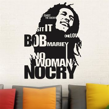 Modern Design Bob Marley Wall Sticker Decor Sticker No Woman No Cry Reggae Jamaica Bedroom Home Decor M782