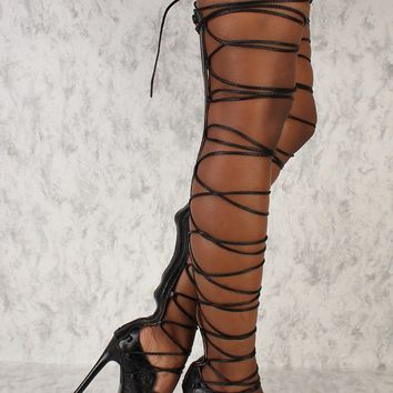 C & C Denise Sexy Black Strappy Tie Up Laces Gladiator Thigh High Heel Boots