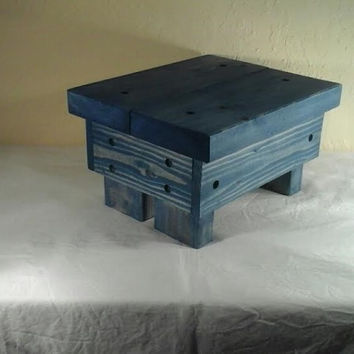 Rustic Step Stool, wooden, handmade (Island Water)
