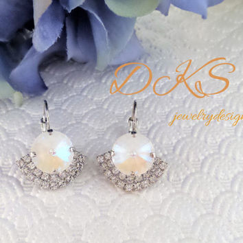 Ultra White AB, Swarovski Bridal Earrings, Crystal Halo, Lever Backs, Dangles, Drops,  12MM, DKSJewelrydesigns, FREE SHIPPING