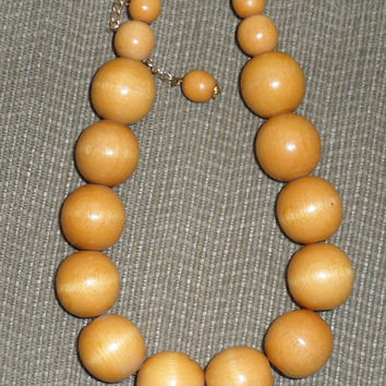CHUNKY WOOD BEADED Necklace/Made in W.Germany/1960s Lge. Wooden Bead Necklace/Natural Wood Product/Statement Necklace/From Estate Collection