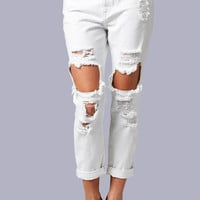 White Boyfriend Distressed Jeans