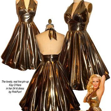 The 24 karat LIQUID GOLD Ultimate Bombshell Pin-Up Halter Dress...