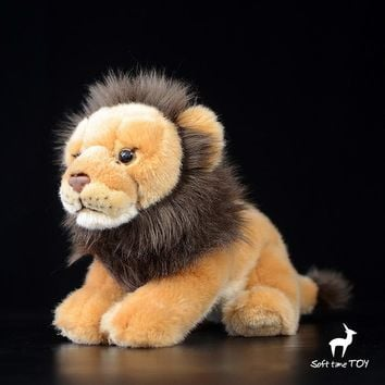 Male Lion Stuffed Animal Plush Toy 10""