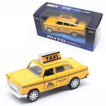 MyLitDear Musical Classic Toys Taxi Alloy Car Model Yellow Diecast Toy Car Hot Wheels 1:32 Toys For Children Christmas Gift