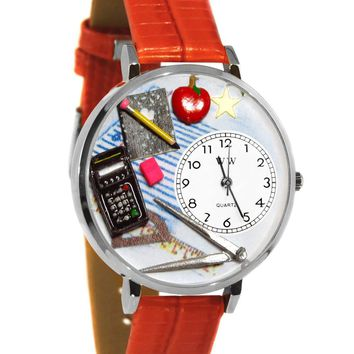 Math Teacher Red Leather And Silvertone Watch