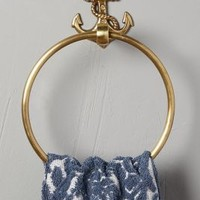 Brass Anchor Towel Ring by Anthropologie in Antique Gold Size: Towel Ring Rings