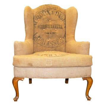 Pre-owned Wing Chair Upholstered in Vintage French Jute
