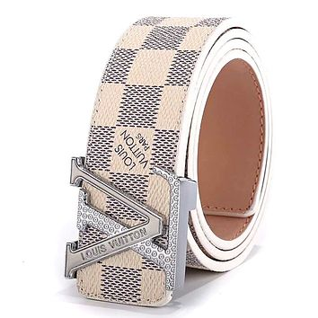 LV tide brand men and women embossed letter head simple wild smooth buckle belt white check