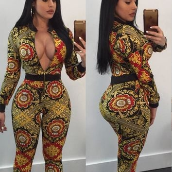 Retro Print Jumpsuit with Zipped Front
