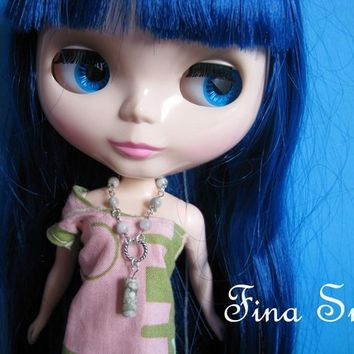OOAK Peace Stone Necklace for Dolls Blythe Pullip Dal etc.
