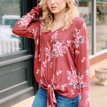 Love for Florals Bell Sleeve Tie Front Top {Brick}