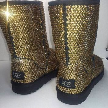 CREY1O Custom Classic Ugg Boots, Black Classic Uggs, Swarovski Uggs, Uggs, Ugg Boots, Bedazzl