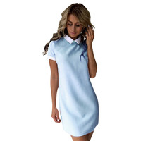 Casual Shirt Dress Short Sleeve Pencil Dresses Cocktail Party Dresses Vintage Vestidos 2017 Summer Dress Office Ladies LJ9076T