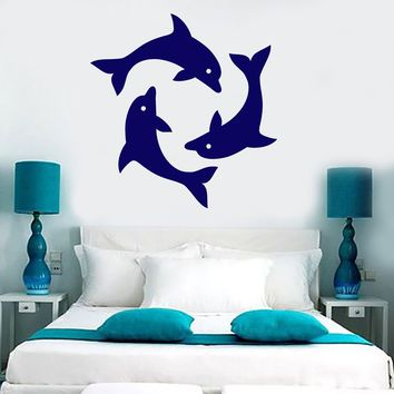 Vinyl Wall Decal Cartoon Dolphins Sea Ocean Style Stickers (2367ig)