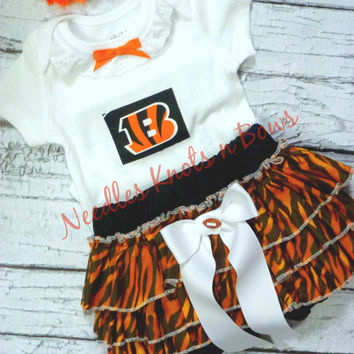 Girls Cincinnati Bengals Cheerleader Outfit, Baby Girls Bengals Coming Home Outfit, Girls Football Team Outfit