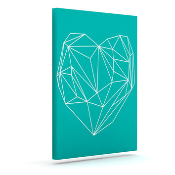 "Mareike Boehmer ""Heart Graphic Turquoise"" Teal Abstract Outdoor Canvas Wall Art"