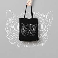Black Tote Bag Cat - Canvas Tote Bag - Printed Tote Bag - Market Bag - Cotton Tote Bag - Funny Cat Bag - Cat Face Tote Bag