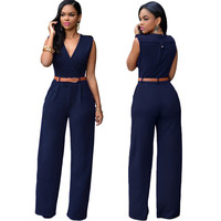 Zkess Jumpsuit Women Long Pants V Neck 2016 Elegant Solid Black Sleeveless Ladies One Piece Belt Jumpsuits Overalls LC64003