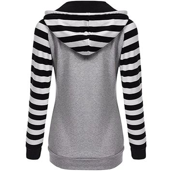 Partiss Women's Casual Stripe Sleeve Hooded Sweatshirt