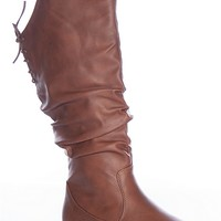 Top Moda Action Adventure  Bank-53 Lace Back Round Toe Ruched Slouch Flat Boots - Tan