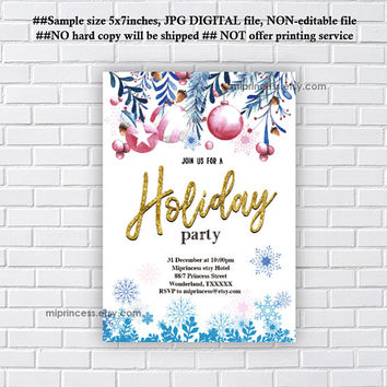 Christmas party invitation, Holiday party, 2018 holiday party,  wedding invitation snow - card 1195