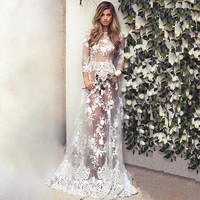 Sexy fashion perspective of bud silk dress The wedding party evening dress