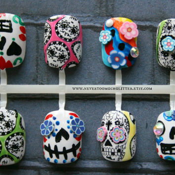 Fake Nails Sugar Skulls Mexican Folk Art by Nevertoomuchglitter