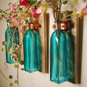 Colored Square Glass Bottle Trio each by PineknobsAndCrickets