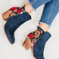 Atlas Embroidered Suede Booties (Navy)