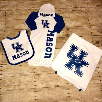 personalized uk gown set, baby girl uk  gown set, baby boy uk gown set, kentucky wildcats gown, uk coming home set,uk wildcats baby blanket,