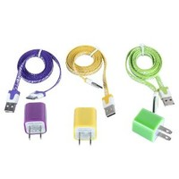 Total 6pcs/lot! Colorful 3pcs USD Cord and Charger for Iphone 4/4s
