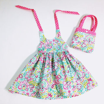18 to 24 month paisley halter dress summer dress summer outfit matching tote girls halter dress with purse boutique outfit girls purse